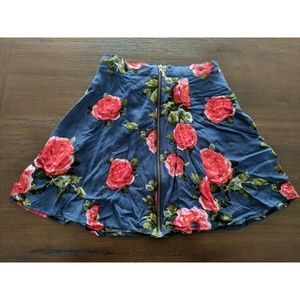 Anthropologie Zipper Floral Skirt Pink Blue Sz XS
